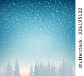 snow falls on the spruce ... | Shutterstock .eps vector #326195132