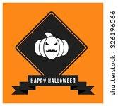 pumpkin icon. black happy... | Shutterstock .eps vector #326196566