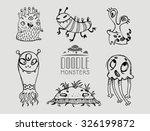 hand drawn doodle monsters.... | Shutterstock .eps vector #326199872