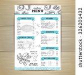 vintage seafood menu design.  | Shutterstock .eps vector #326201432