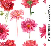 Red And Pink Watercolor Dahlia...