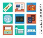 airport color flat icons set | Shutterstock .eps vector #326212016