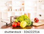 cooking salad. vegetables on... | Shutterstock . vector #326222516