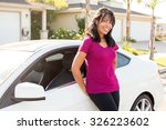 attractive woman and her white... | Shutterstock . vector #326223602
