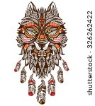 ethnic totem of a wolf. indian... | Shutterstock .eps vector #326262422