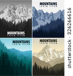 vector set of vintage mountains ... | Shutterstock .eps vector #326266616