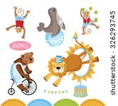 circus animals perform tricks... | Shutterstock .eps vector #326293745