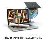 education concept. laptop with... | Shutterstock . vector #326294942