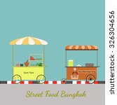 street food. cart seller thai... | Shutterstock .eps vector #326304656