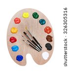 wooden art palette with paints... | Shutterstock . vector #326305316