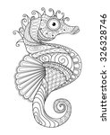 Hand Drawn Sea Horse Zentangle...