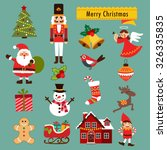 christmas decoration icons ... | Shutterstock .eps vector #326335835