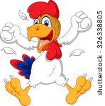 cute rooster cartoon posing | Shutterstock .eps vector #326338805