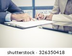 female hand signing contract. | Shutterstock . vector #326350418