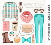 Vector Stylish Fashion Set Of...