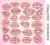 illustration set feminine lips... | Shutterstock .eps vector #326379812