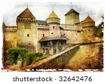 Chillion castle- picture in painting style - stock photo