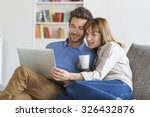 young couple surfing on... | Shutterstock . vector #326432876