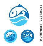 Blue Round Icon With Fish And...