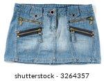 Blue sexy female mini skirt isolated on white background - stock photo