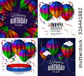 set of birthday cards with... | Shutterstock .eps vector #326441882
