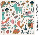 sweet forest set with lovely... | Shutterstock .eps vector #326475062