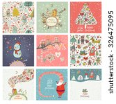 9 lovely christmas and new year ... | Shutterstock .eps vector #326475095