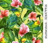 watercolor seamless exotic... | Shutterstock . vector #326479916