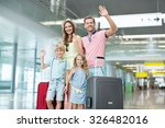 family with luggage at the... | Shutterstock . vector #326482016