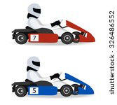 logo karting. man racing on... | Shutterstock .eps vector #326486552