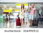 happy family with suitcases in... | Shutterstock . vector #326490512