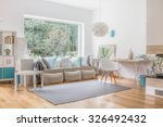 cozy bright living room and big ... | Shutterstock . vector #326492432