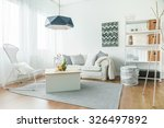trendy furniture in small cozy... | Shutterstock . vector #326497892