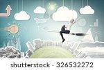 happy young woman flying in sky ... | Shutterstock . vector #326532272