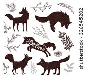 wild fox silhouettes with... | Shutterstock .eps vector #326545202