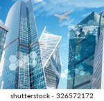 business city with world map... | Shutterstock . vector #326572172