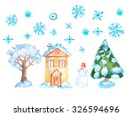 watercolor vintage christmas... | Shutterstock . vector #326594696