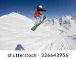 flying snowboarder on mountains ... | Shutterstock . vector #326643956