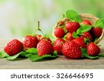 ripe strawberries with leaves... | Shutterstock . vector #326646695