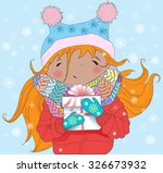 happy young girl holds... | Shutterstock .eps vector #326673932