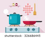 interior of kitchen  pans on... | Shutterstock .eps vector #326686445