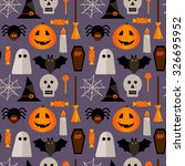 halloween seamless pattern with ... | Shutterstock .eps vector #326695952