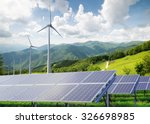 solar panels with wind turbines ... | Shutterstock . vector #326698985