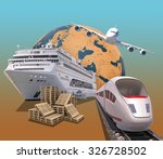 transport with planet and train ... | Shutterstock . vector #326728502