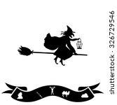 halloween witch. silhouette.... | Shutterstock . vector #326729546