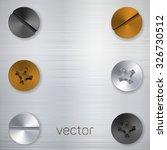 metallic screw set. vector...   Shutterstock .eps vector #326730512