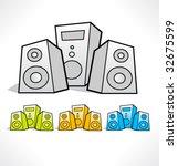 cartoon color icons of speaker. ...   Shutterstock .eps vector #32675599