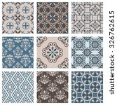 set of nine vector seamless... | Shutterstock .eps vector #326762615
