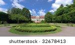 Park in Oliwa palace Opatow Gdansk, Poland. - stock photo