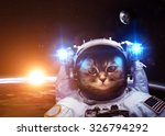 Stock photo an astronaut cat floats above earth stars provide the background elements of this image furnished 326794292